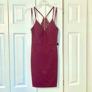 Dark Wine Mini Dress